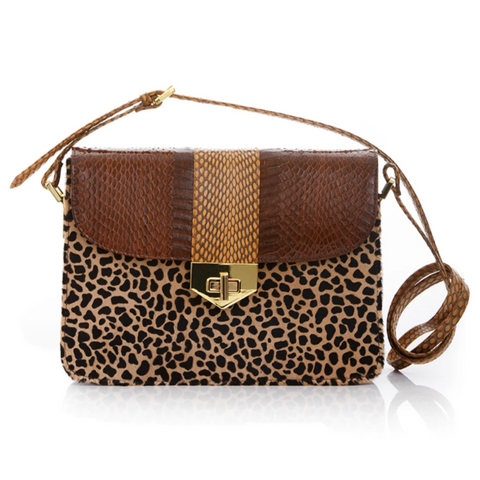 Cross Body Bag LIM LE FO Brown Cobra and Leopard Print