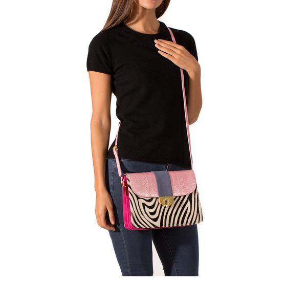 Cross Body Bag LIM LE FO Pink Cobra Lily Suede and Zebra Print Calf