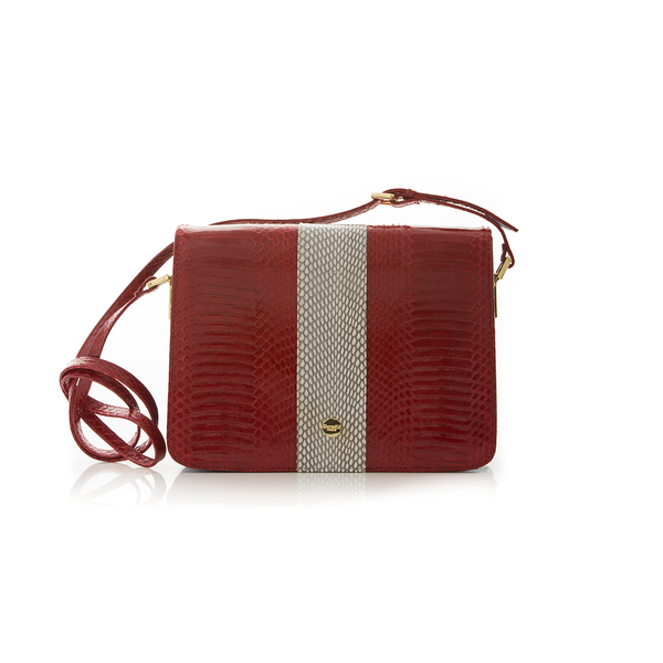 Cross Body Bag LIM LE FO Red Cobra with Zebra Print Calf