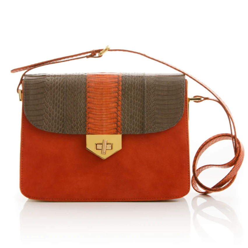 Cross Body Bag LIM LE FO Turtle Grey Cobra and Paprika Suede