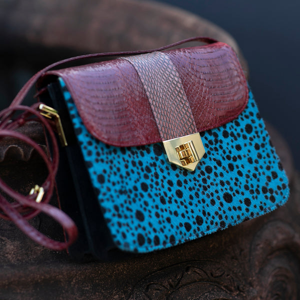 Crossbody bag LIM LE FO cassis and polka blue