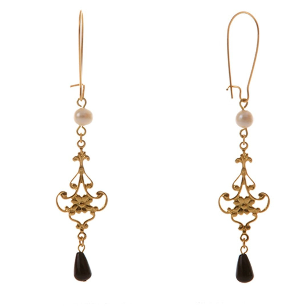 LINA Earring Gold-Plated Pearl and Black Agate