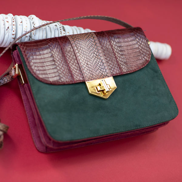 Crossbody bag LIM LE FO cassis and forest colour