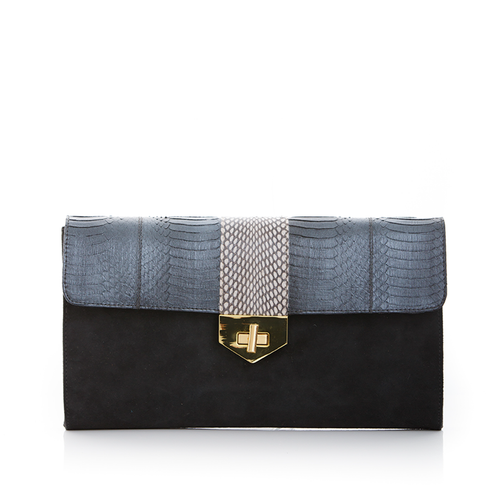 Clutch Bag with removable strap LUV YAH Metal Grey Cobra and Elephant Grey Suede