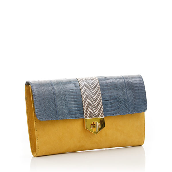 Clutch Bag with removable strap LUV YAH Grey Blue Cobra and Mustard Suede