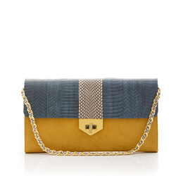 LUV YAH clutch bag with removable strap grey blue cobra and mustard suede