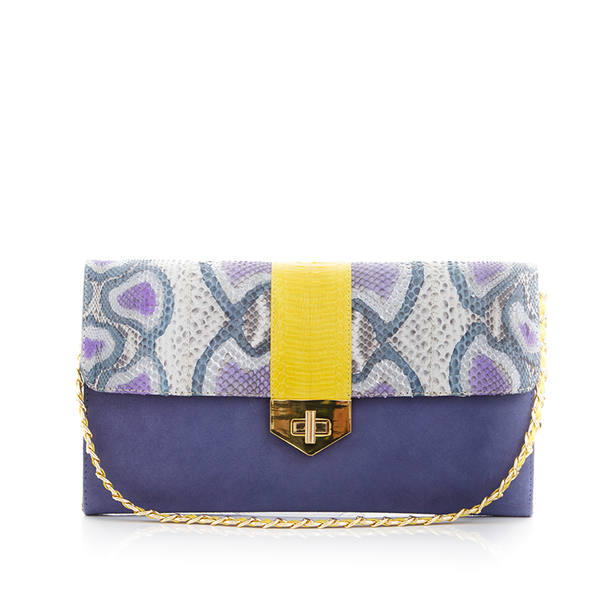 Clutch Bag with removable strap LUV YAH Blue Painted Python and Lavender Suede