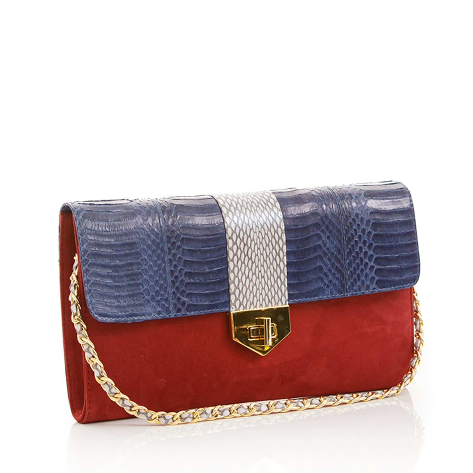 Clutch Bag with removable strap LUV YAH Navy Blue Cobra and Carmin Suede