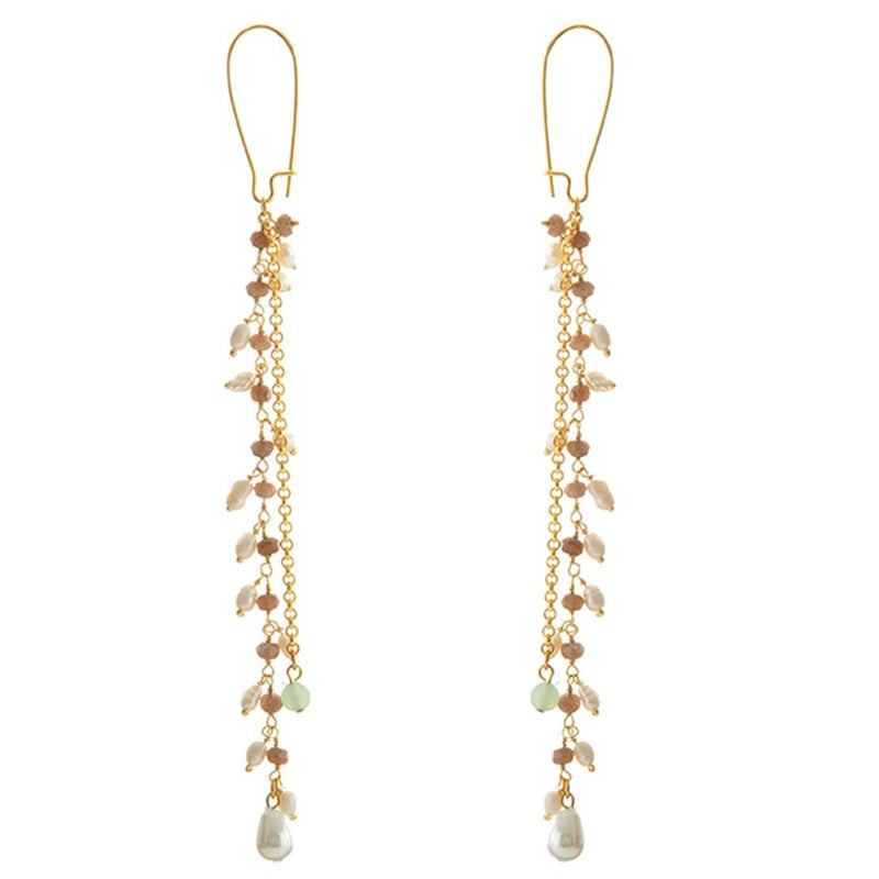 MANI Earring Gold-Plated Multicolor Pearls