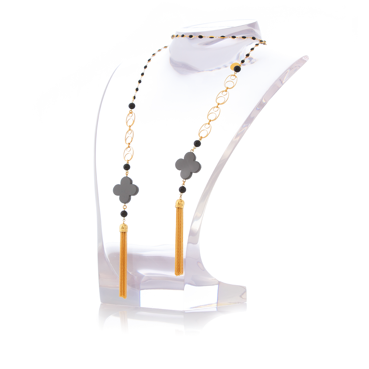 MAURESK Double Tasseled Grey Lacquered Horn and Black Agate Necklace