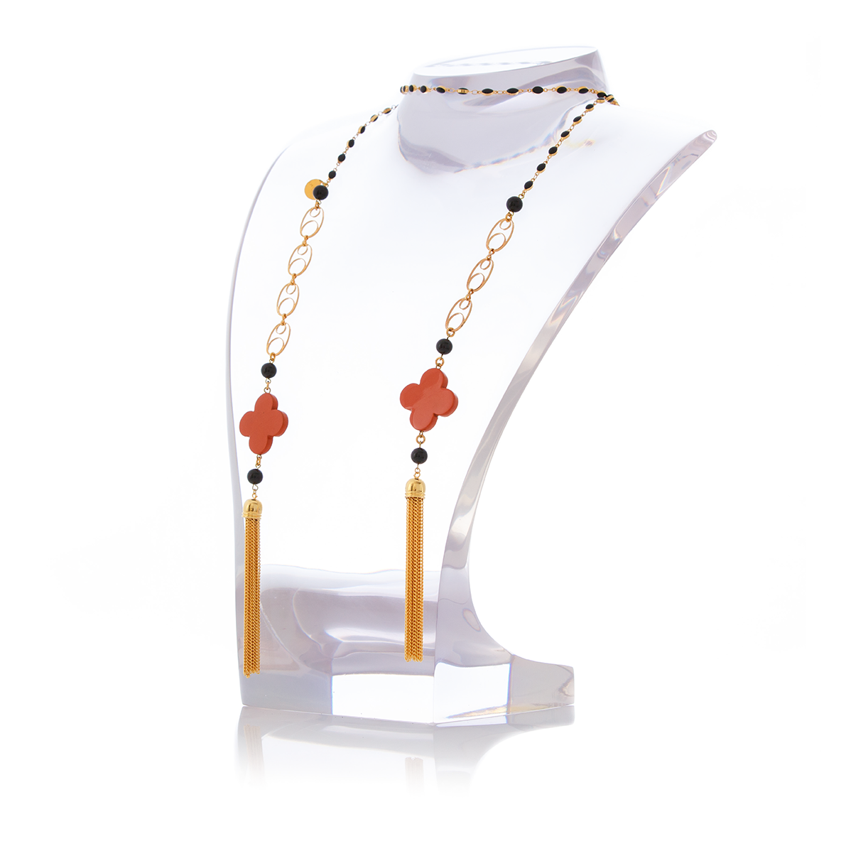 MAURESK Double Tasseled Orange Lacquered Horn and Black Agate Necklace