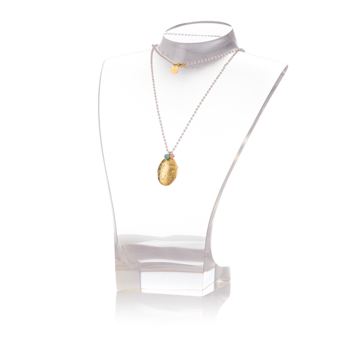 MEMORY Necklace Pearl and Ovale Gold-Plated