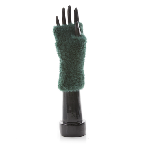 MEGEVE Mink Knitted Mittens Green
