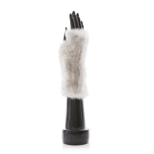 MEGEVE Mink Knitted Mittens White