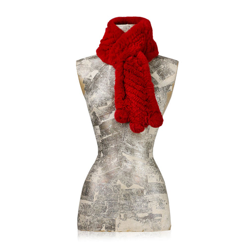 Darsala CHAMONIX Knitted red chinchilla scarf