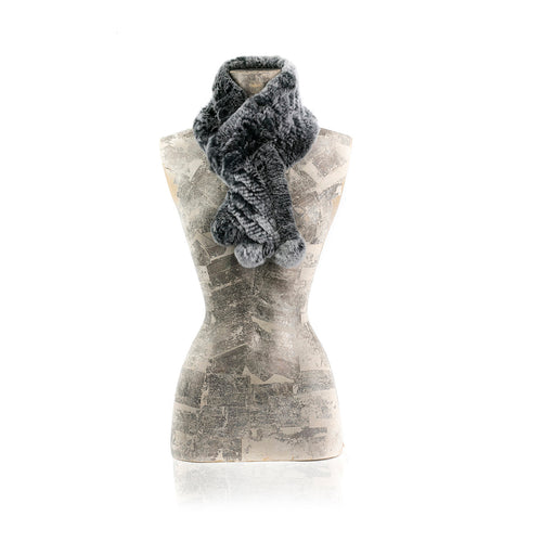 Darsala CHAMONIX Knitted grey chinchilla scarf