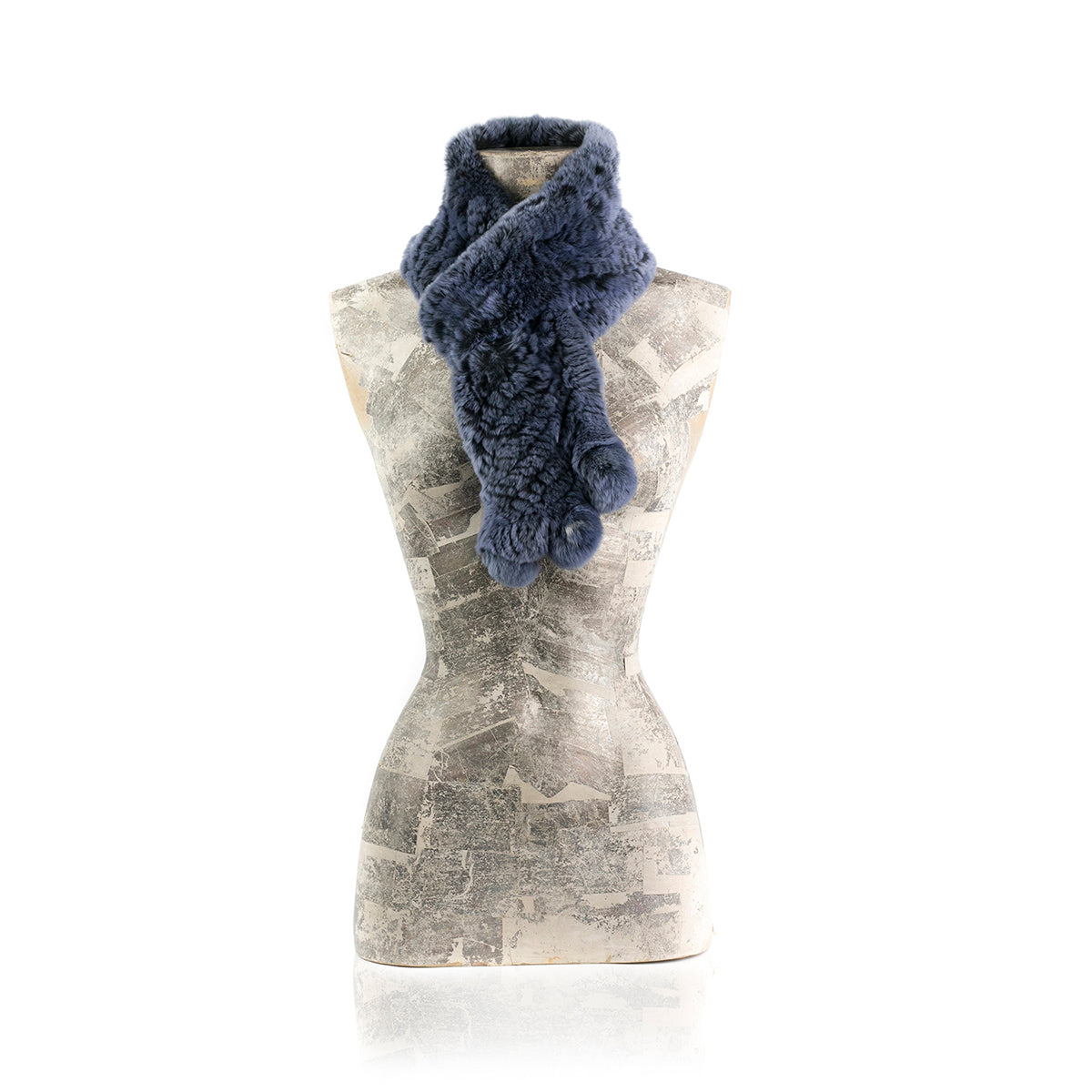 Darsala CHAMONIX Knitted blue chinchilla scarf