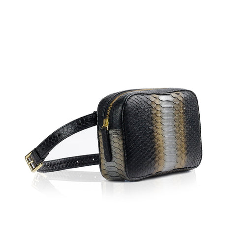 WANTOO, Two-in-one belt and crossbody bag, hand painted python and cobra