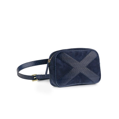 WANTOO, Two-in-one belt and crossbody bag Navy cobra and lamb