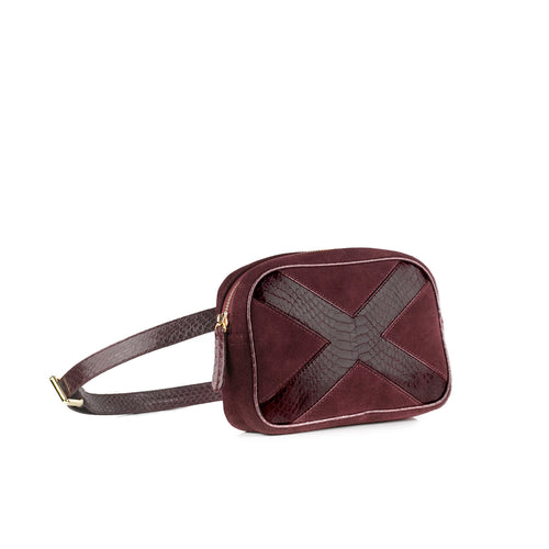 WANTOO, Two-in-one belt and crossbody bag Burgundy cobra and lamb