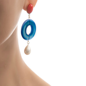 MIA Earring Red Blue Agate Pearl