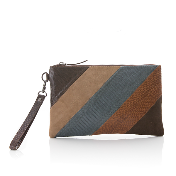 MINAD Compact Clutch Suede and Cobra, Brown Tobacco Grey Blue and Beige