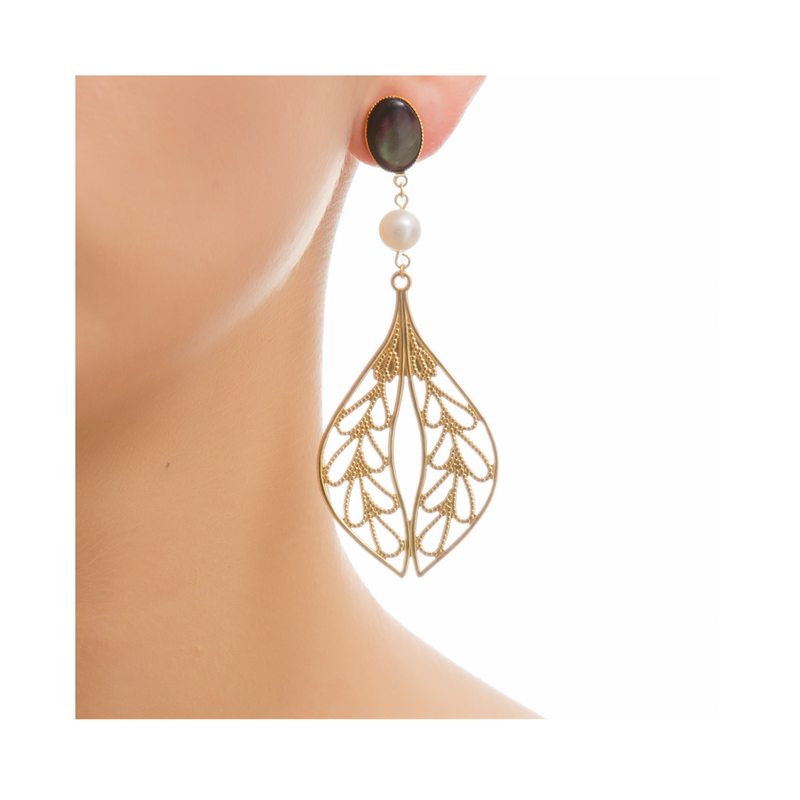 MINA Earring Gold-Plated Black and Pearl