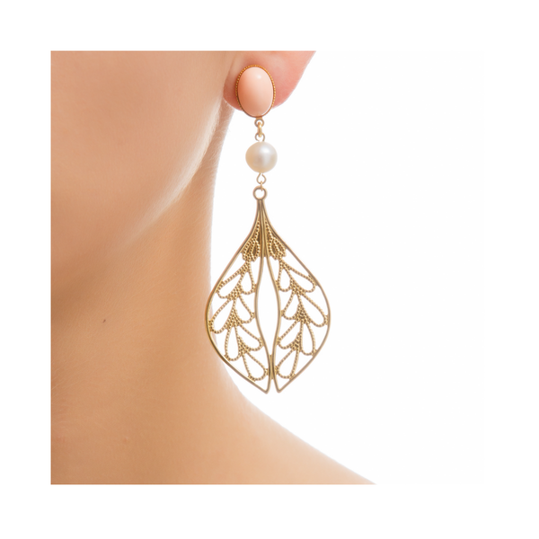 MINA Earring Gold-Plated Coral and Pearl