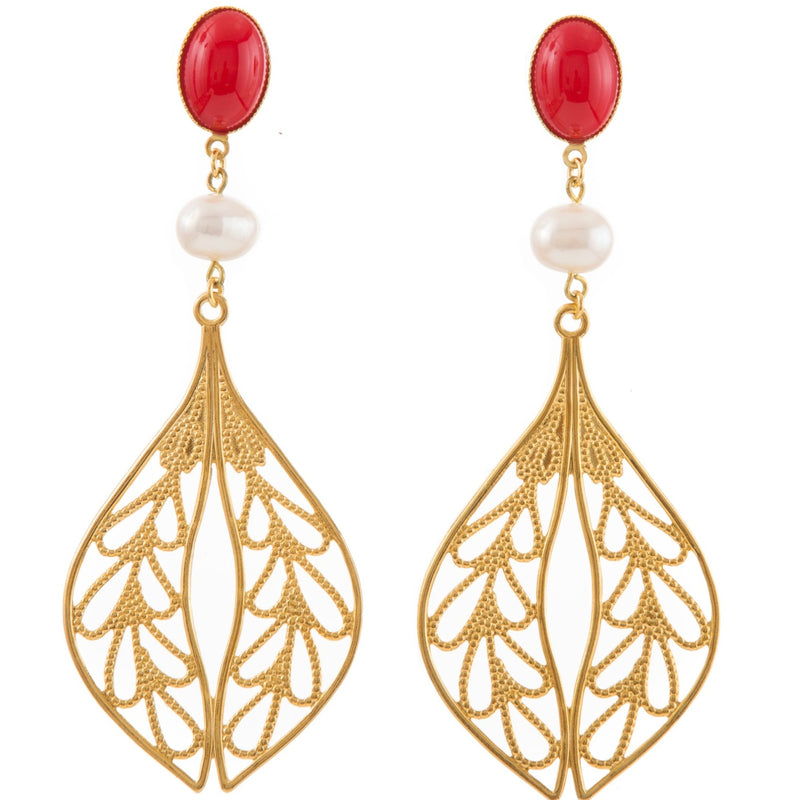 MINA Earring Gold-Plated Red and Pearl
