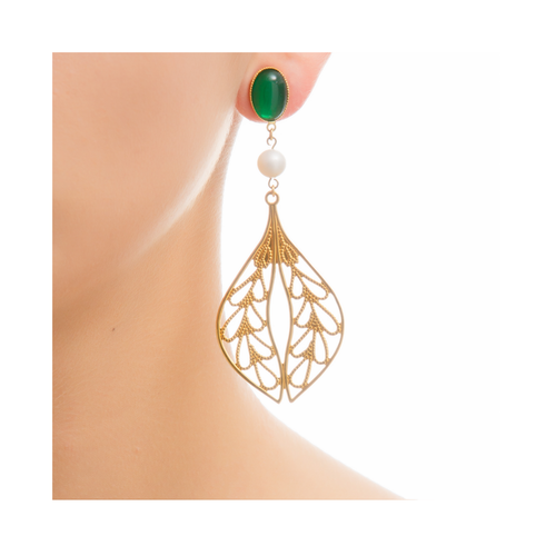 MINA Earring Gold-Plated Green and Pearl