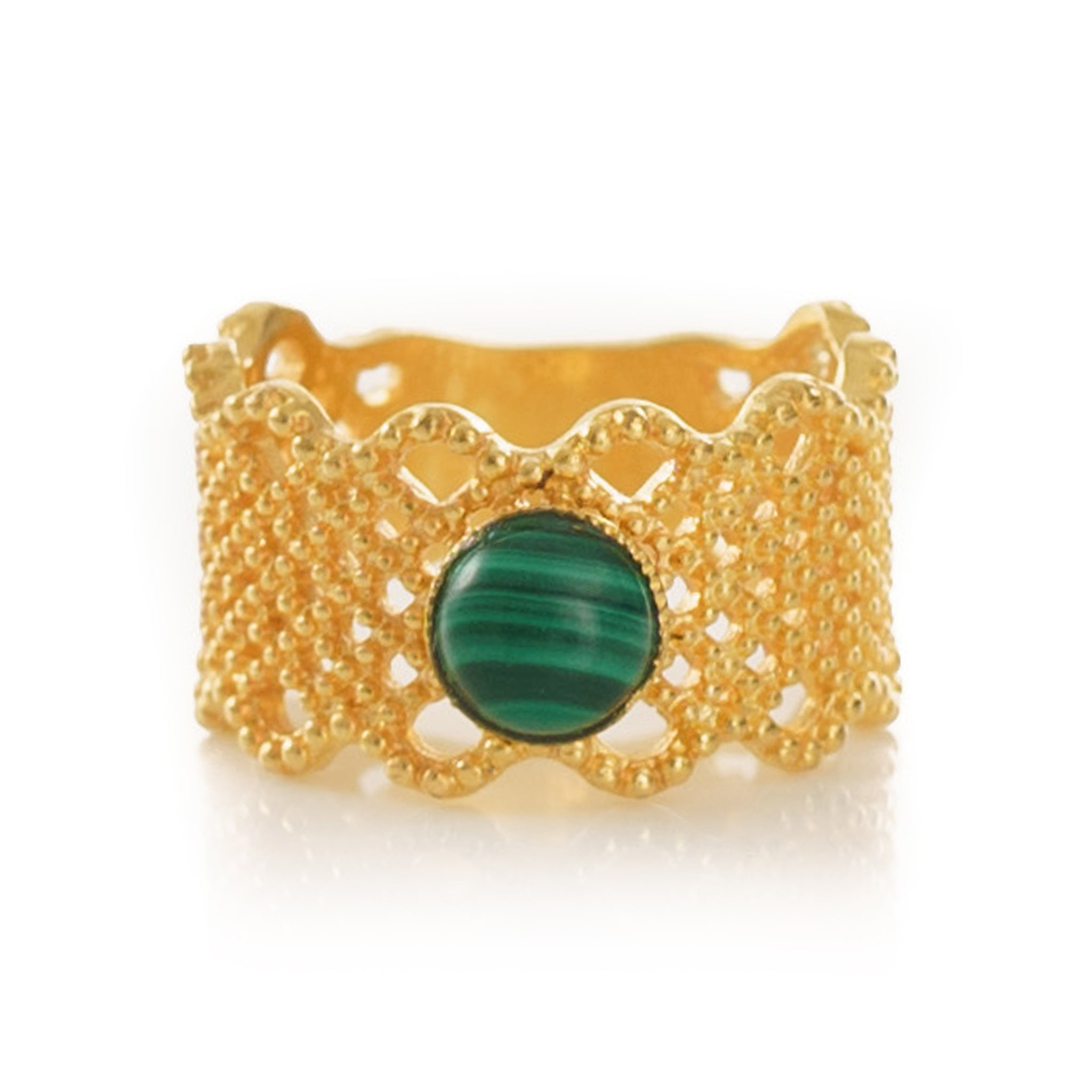 NAELIS Lace Ring Malachite