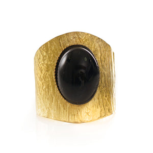 NEZA Adjustable Ring Black Agate