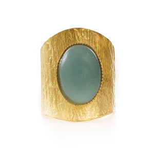 NEZA Adjustable Ring Aventurine cabochon