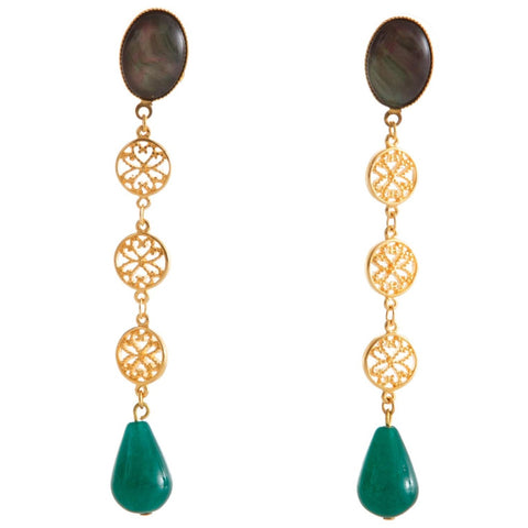 NOOR Earring Gold-Plated Grey and Green Agate