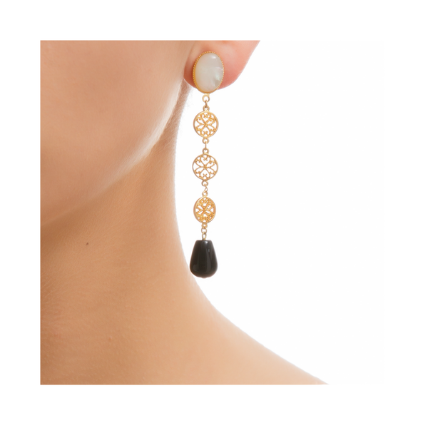 NOOR Earring Gold-Plated Pearl and Black Agate