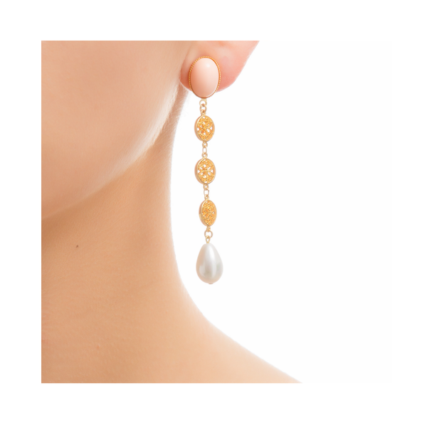NOOR Earring Gold-Plated Coral and Pearl