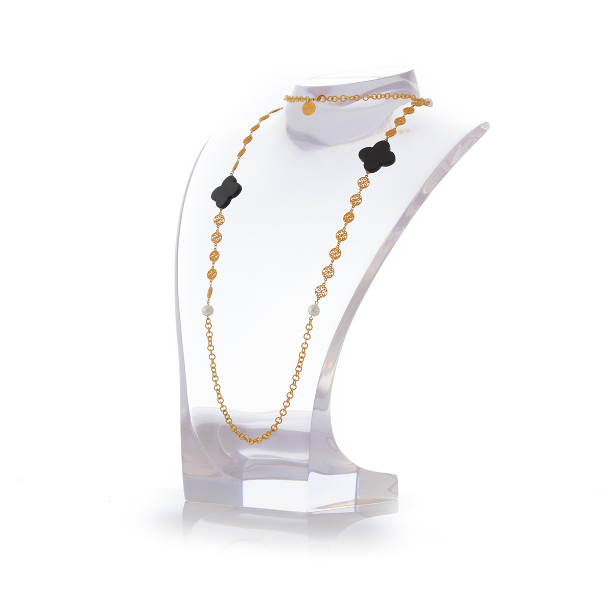 OGIVE Necklace Black Agate and Pearl