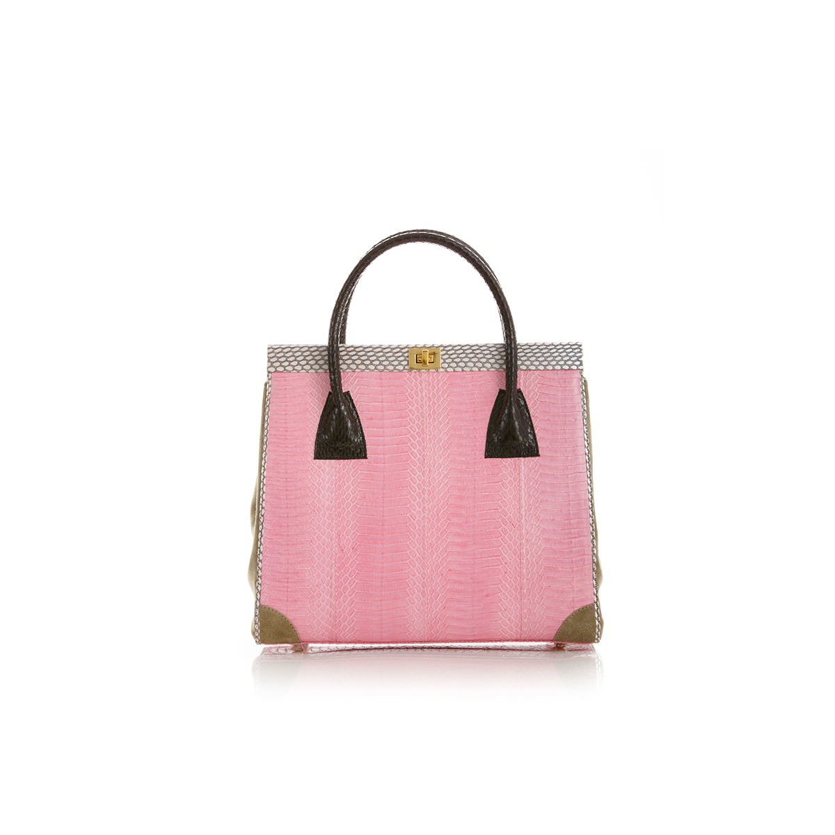 Hand Carry Bag ONG SAN FU Baby Pink Cobra and Ciment Suede
