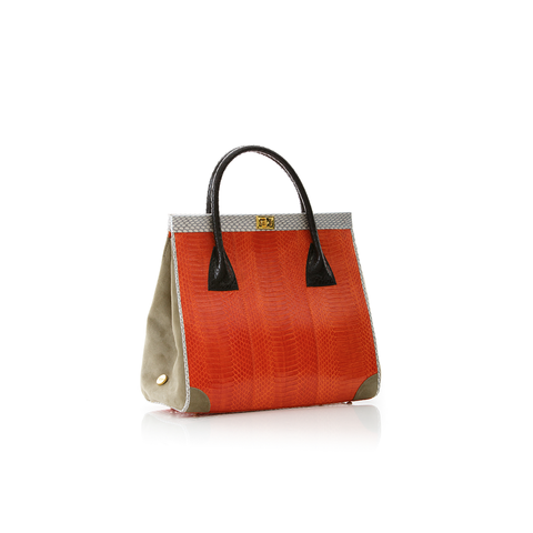 Hand Carry Bag ONG SAN FU Orange Cobra Belly and Ciment Suede