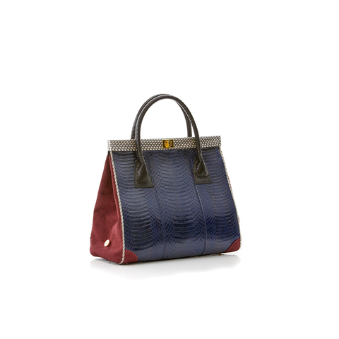 Hand Carry Bag ONG SAN FU Navy Blue Cobra and Wine Suede
