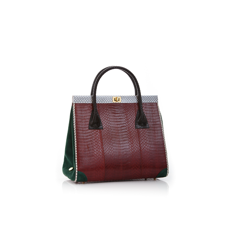 Hand Carry Bag ONG SAN FU Cassis Cobra and Green Forest Suede