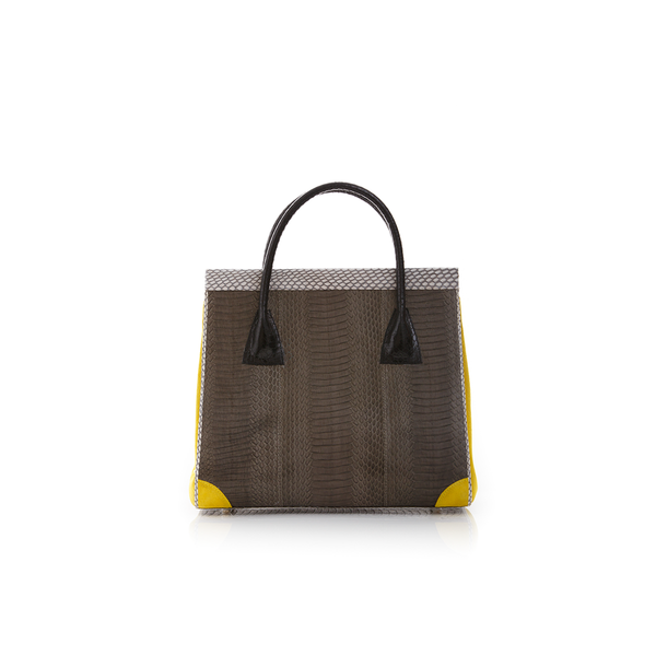 Hand Carry Bag ONG SAN FU Turtle Grey Cobra and Yellow Suede