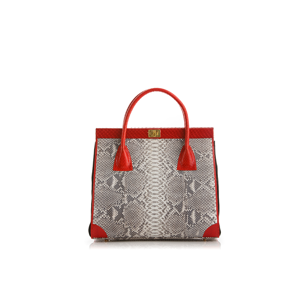 Hand Carry Bag ONG SAN FU Natural Python Red Cobra and Black Suede