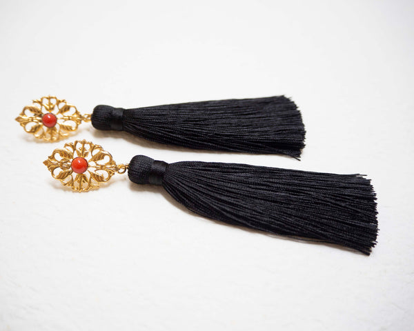 AZYADE Earring Black -Red Cabochon