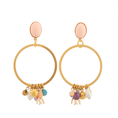 PAOLA Earring Gold-Plated Coral