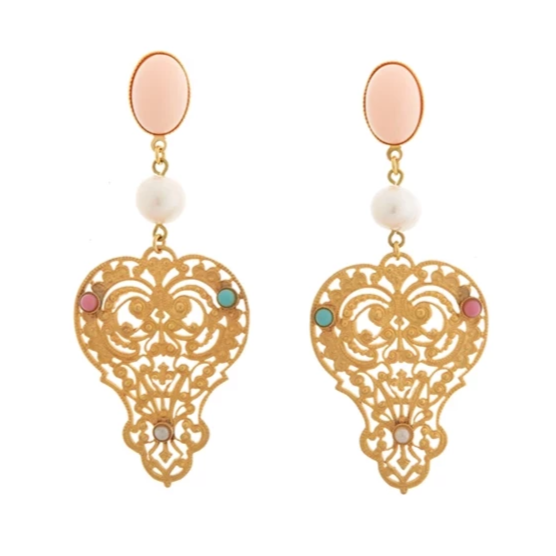 PERSEPHONE earring gold-plated coral