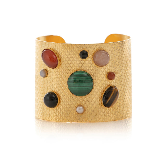 PHEBEE bracelet gold-plated cuff assorted semi precious stones