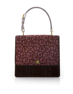 Top Handle Bag TAHDAH flower printed calf and brown cobra