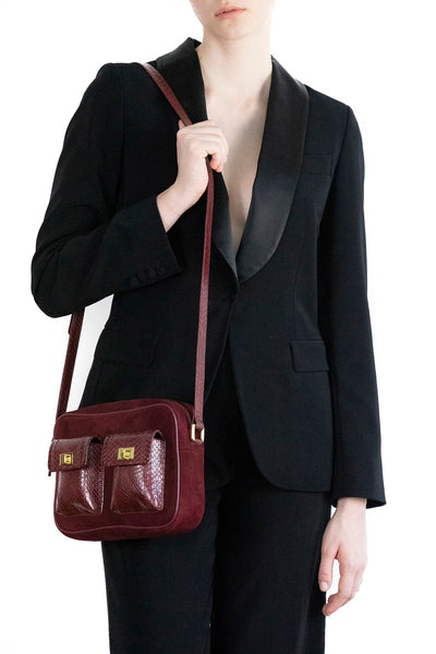 CAMBAG, crossbody bag Burgundy cobra and lamb suede
