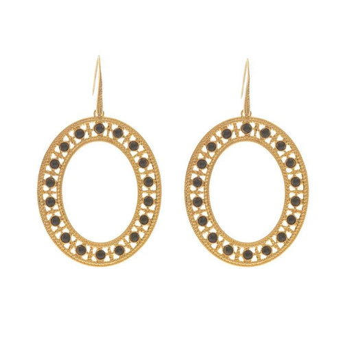 LUCINE Oval Earrings Black